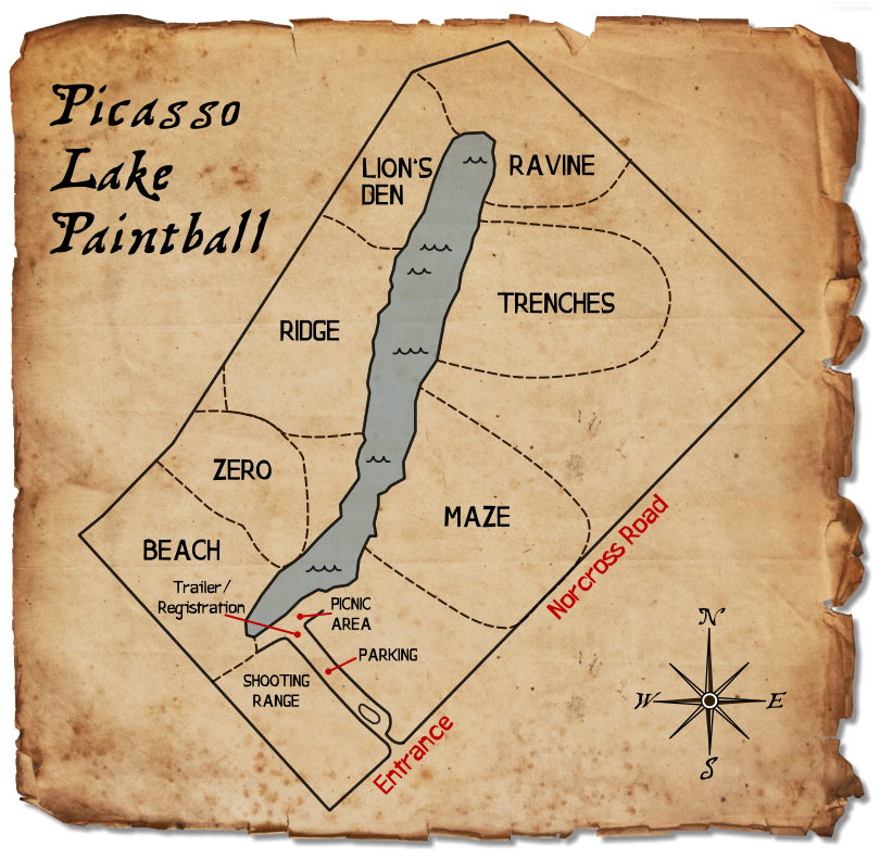 Picasso Lake Paintball Field Map